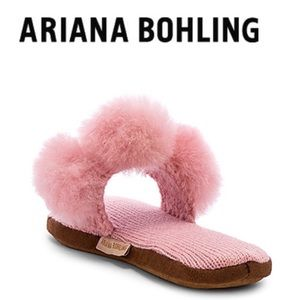 Triple Pom Pom Slip On Styling Alpaca Slippers